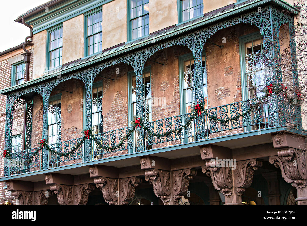 Historic Dock Street Theater decorated for Christmas in Charleston, South Carolina. - Stock Image