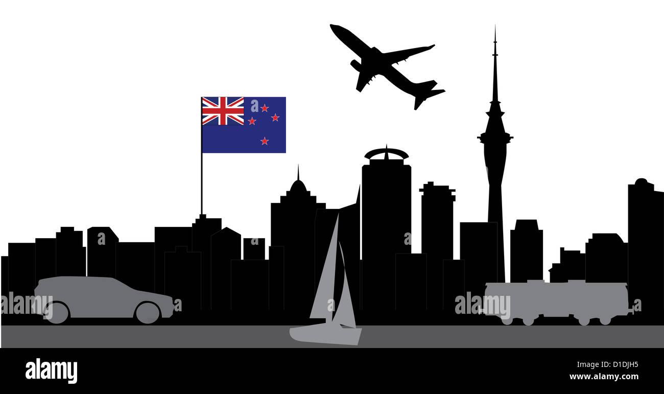 travel to aukland skyline new sealand - Stock Image