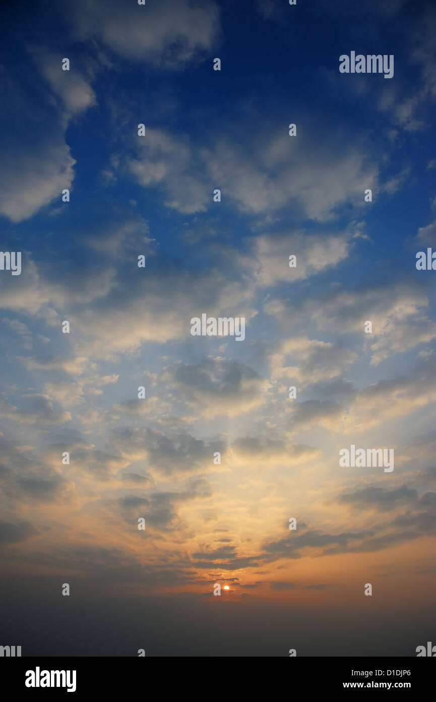 Sunrise with only sky and cloud. - Stock Image