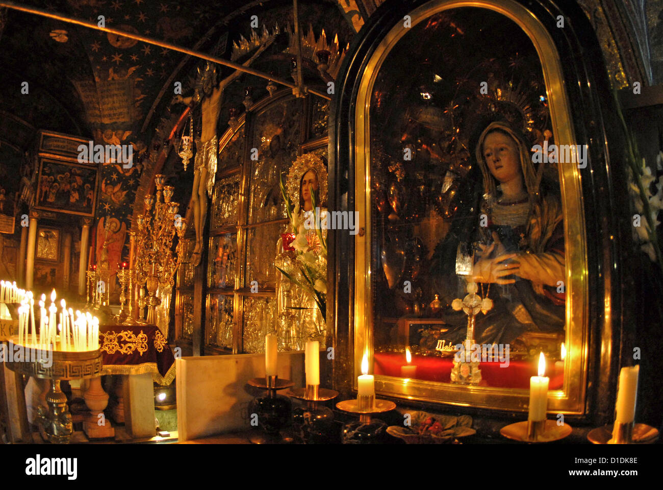 Altar of Our Lady of Sorrows, Church of the Holy Sepulcher Jerusalem collection Stock Photo