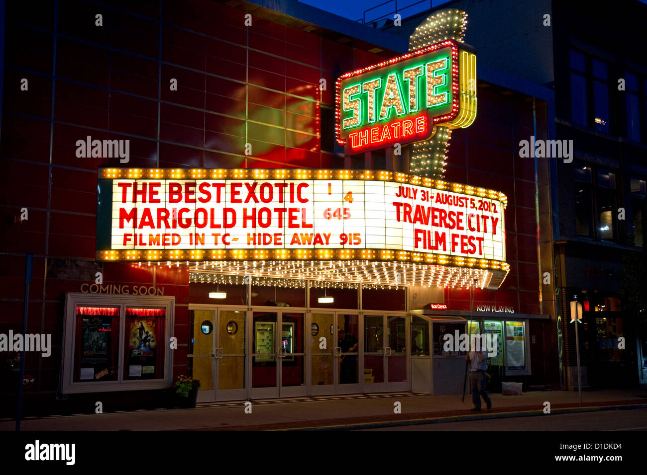 The State Theatre marquee in Traverse City, Michigan, USA. - Stock Image
