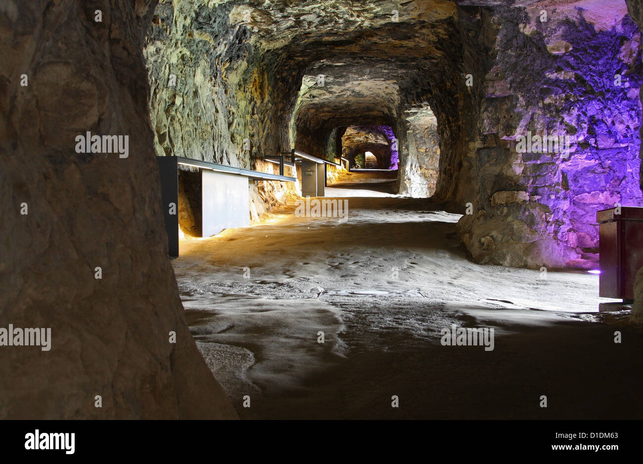 Inside the Bock Casemates: fortification tunnels in Luxembourg City - Stock Image