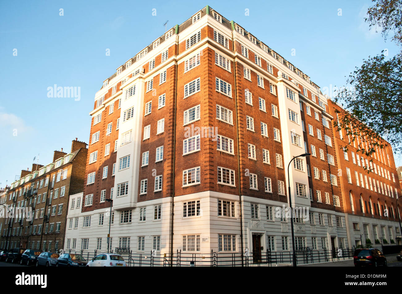 Brick corner house, Tavistock Square, WC1, London, UK - Stock Image