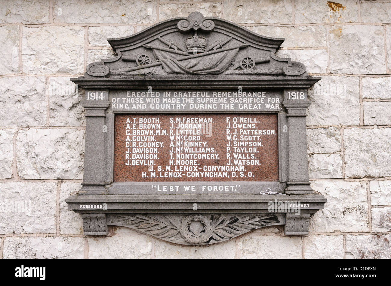 Memorial for soldiers who died in the First World War - Stock Image