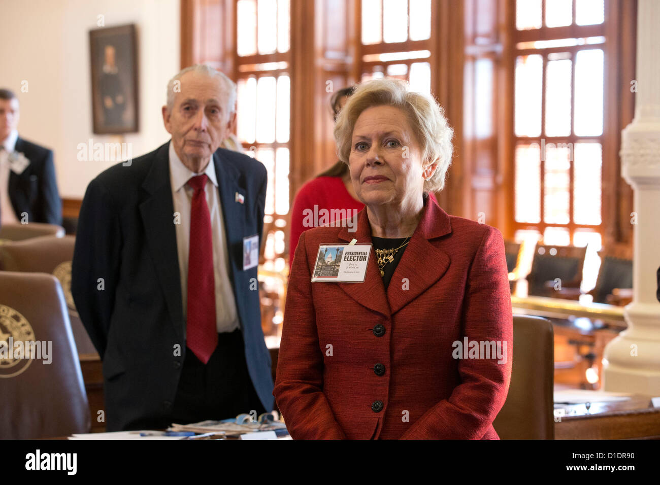 Electors cast ballots as the Texas Electoral College meet at the Capitol in Austin, Texas. Stock Photo