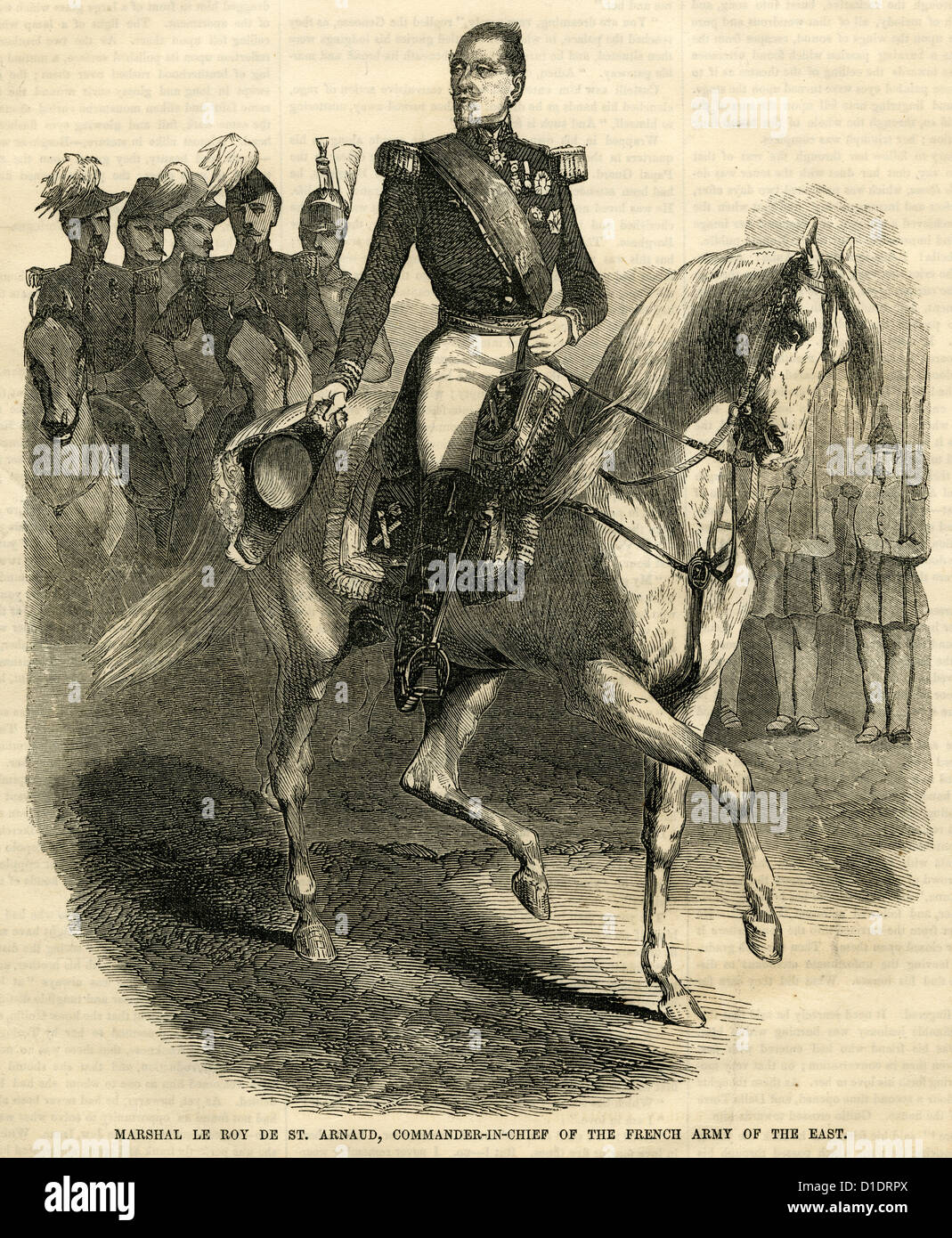 1854 engraving, Marshal Le Roy de St. Arnaud, Commander-in-Chief of the French Army in the East. - Stock Image
