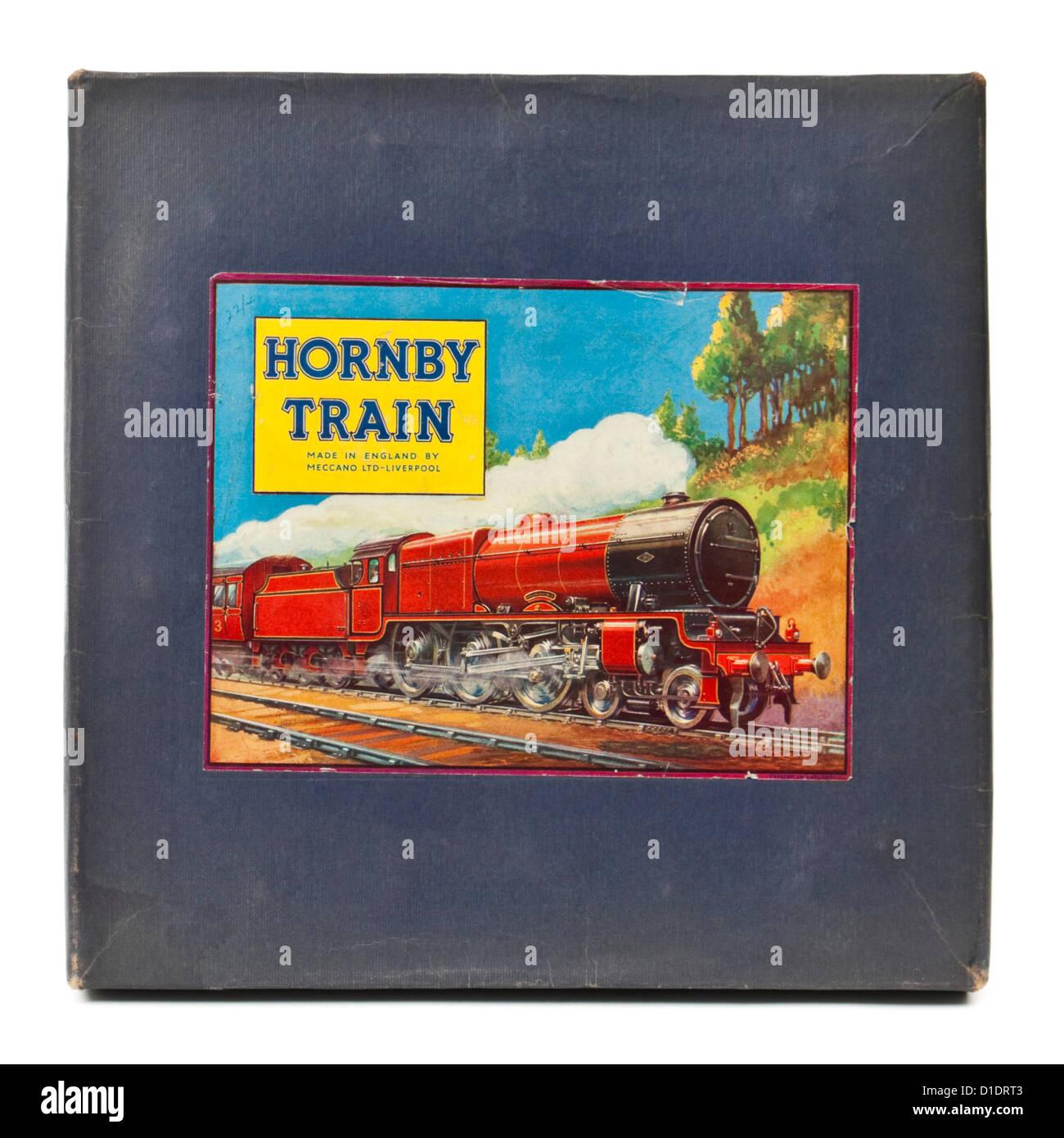 Rare 1950's Hornby clockwork M0 Passenger Train Set with green tinplate locomotive and 'Zena' and 'Joan' - Stock Image