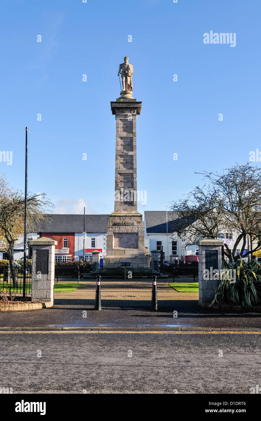 Statue of Major General Rollo Gillespie in Comber, County Down - Stock Image