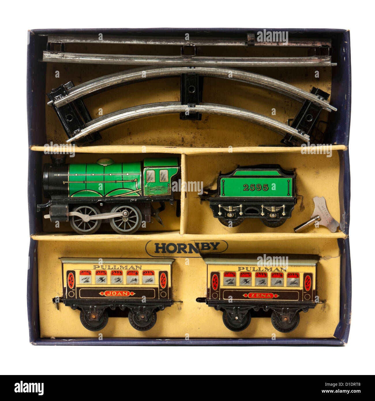 Rare 1950's Hornby clockwork M0 Passenger Train Set with green tinplate locomotive and tender and Pullman carriages - Stock Image