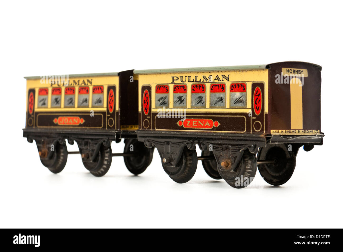 Rare 1950's Hornby clockwork 'Zena' and 'Joan' Pullman carriages (O-gauge) from M0 Passenger - Stock Image