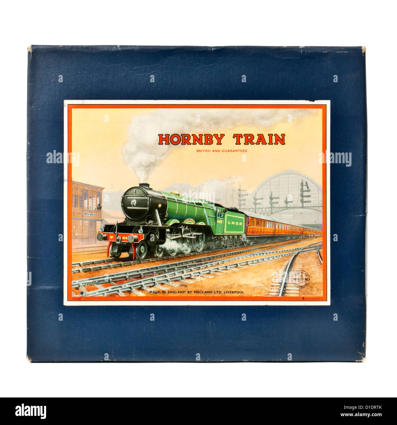 Rare 1950's Hornby (Meccano) No 101 Tank Passenger Train Set with clockwork tinplate LMS locomotive and carriages - Stock Image
