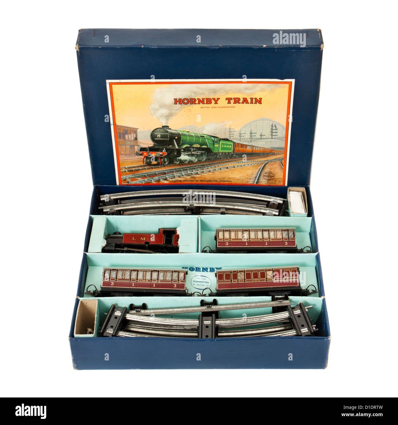 Rare 1950's Hornby (Meccano) No 101 Tank Passenger Train Set with clockwork tinplate locomotive and carriages - Stock Image