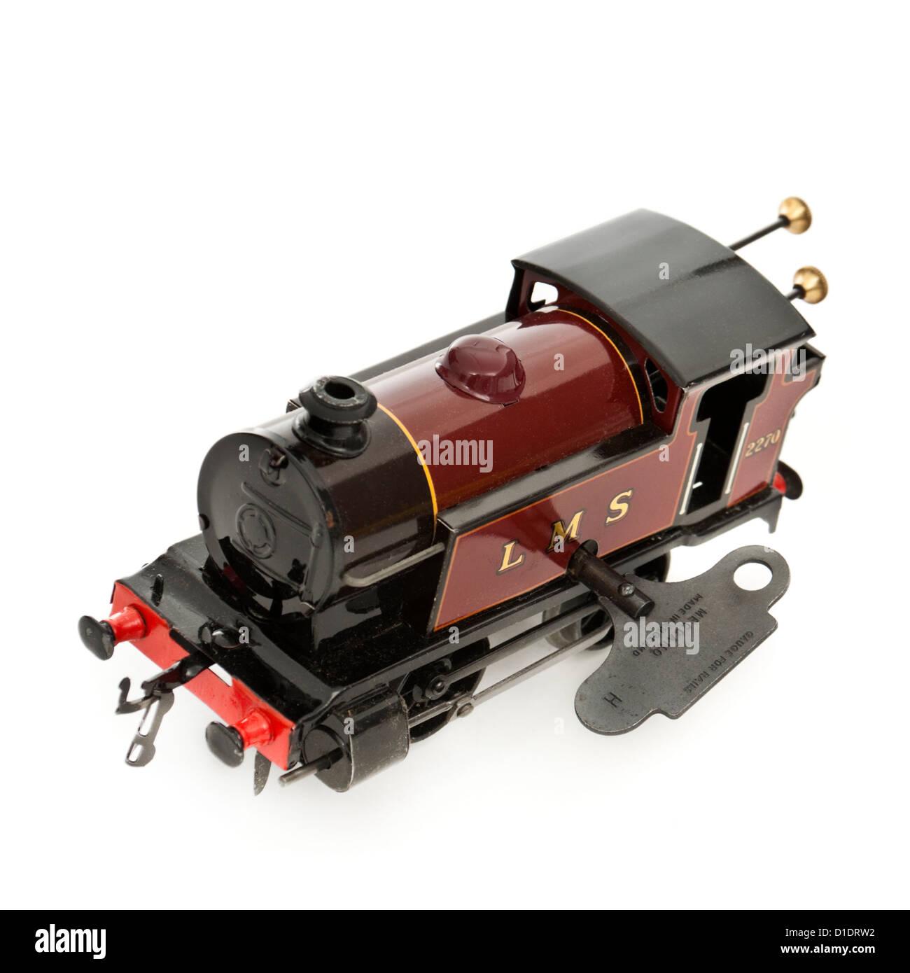 Rare 1950's Hornby (Meccano) clockwork tinplate LMS locomotive (O-gauge) with running number 2270 - Stock Image