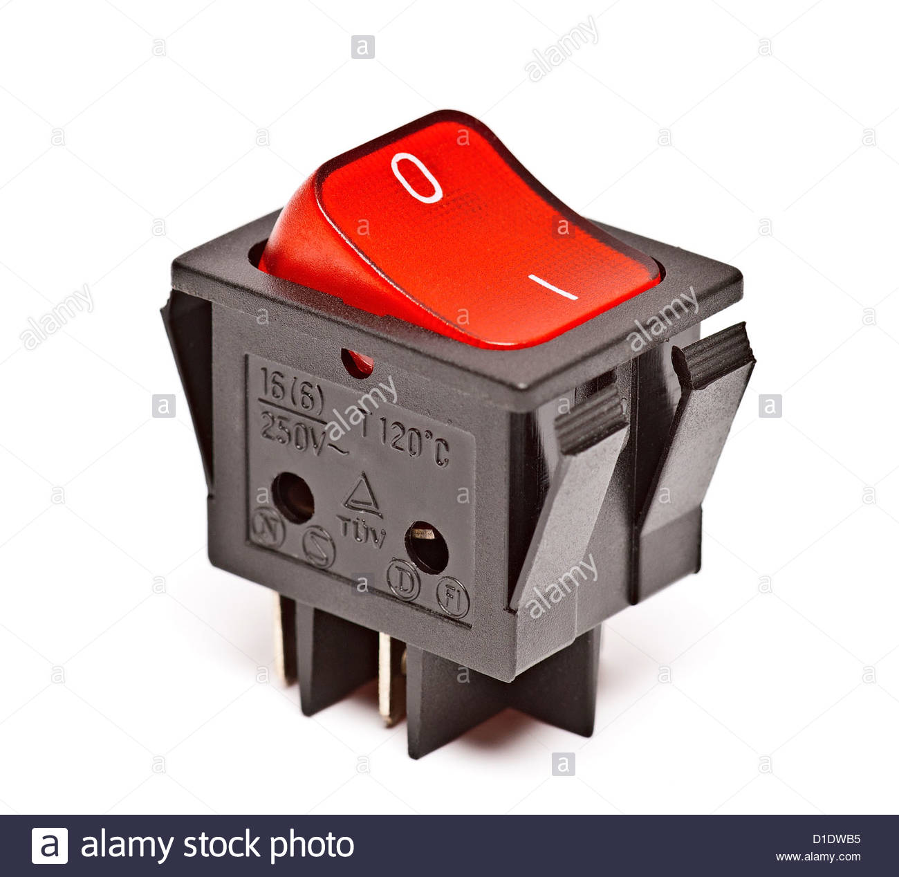 red switch isolated on white base - Stock Image
