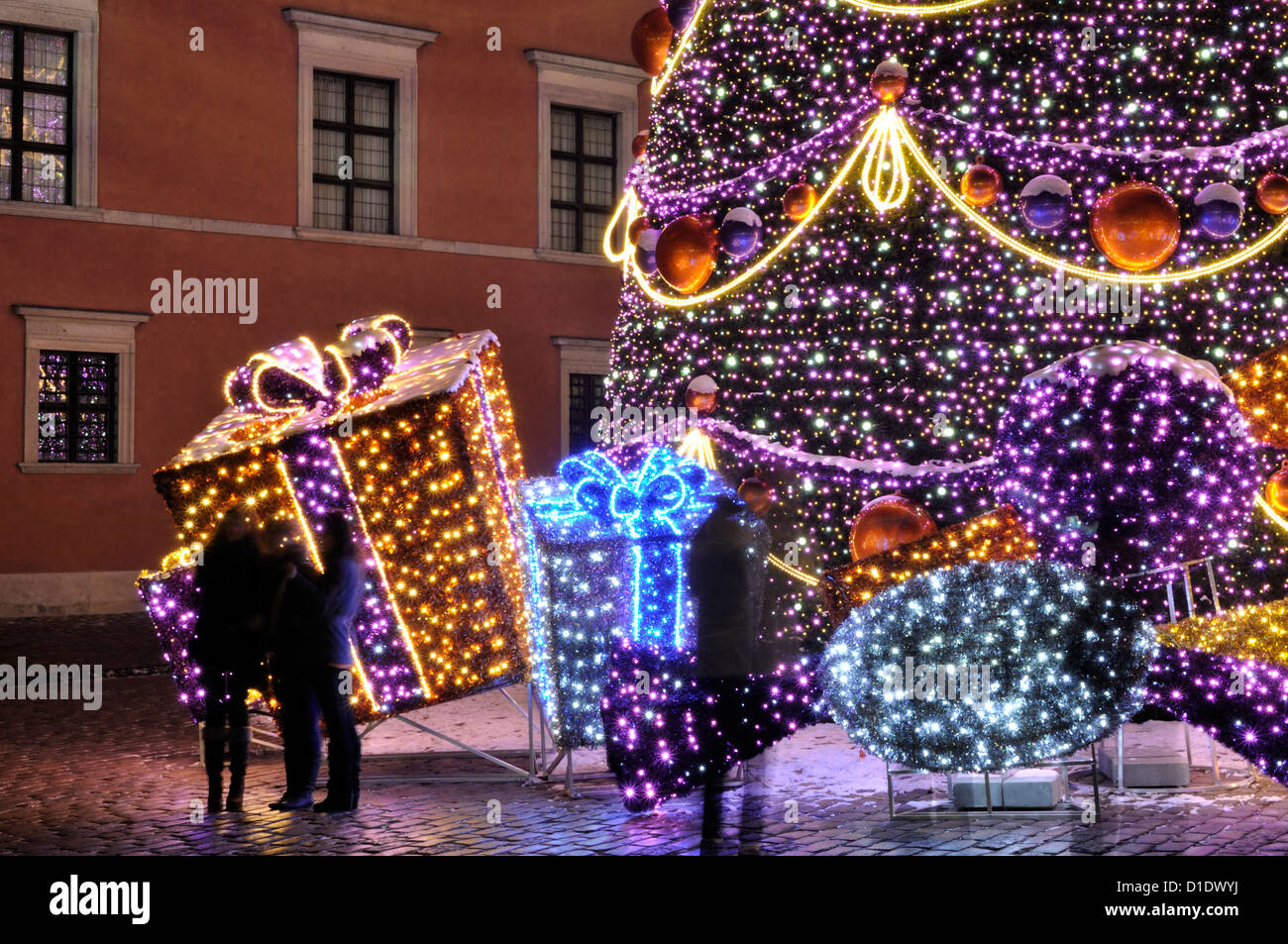 Christmas decorations in Warsaw - Stock Image