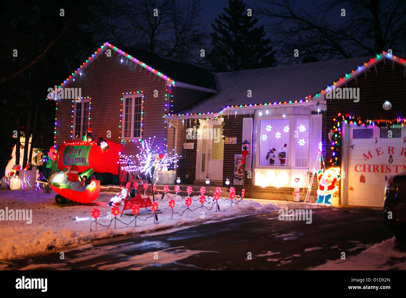 Christmas lights house decorations stock photos