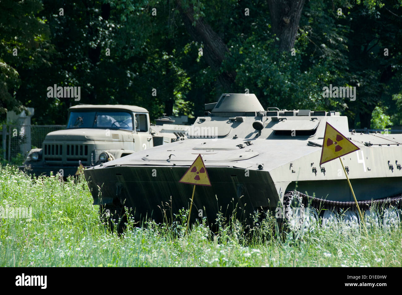 Abandoned military transport with high radiation level after Chernobyl nuclear accident liquidation - Stock Image