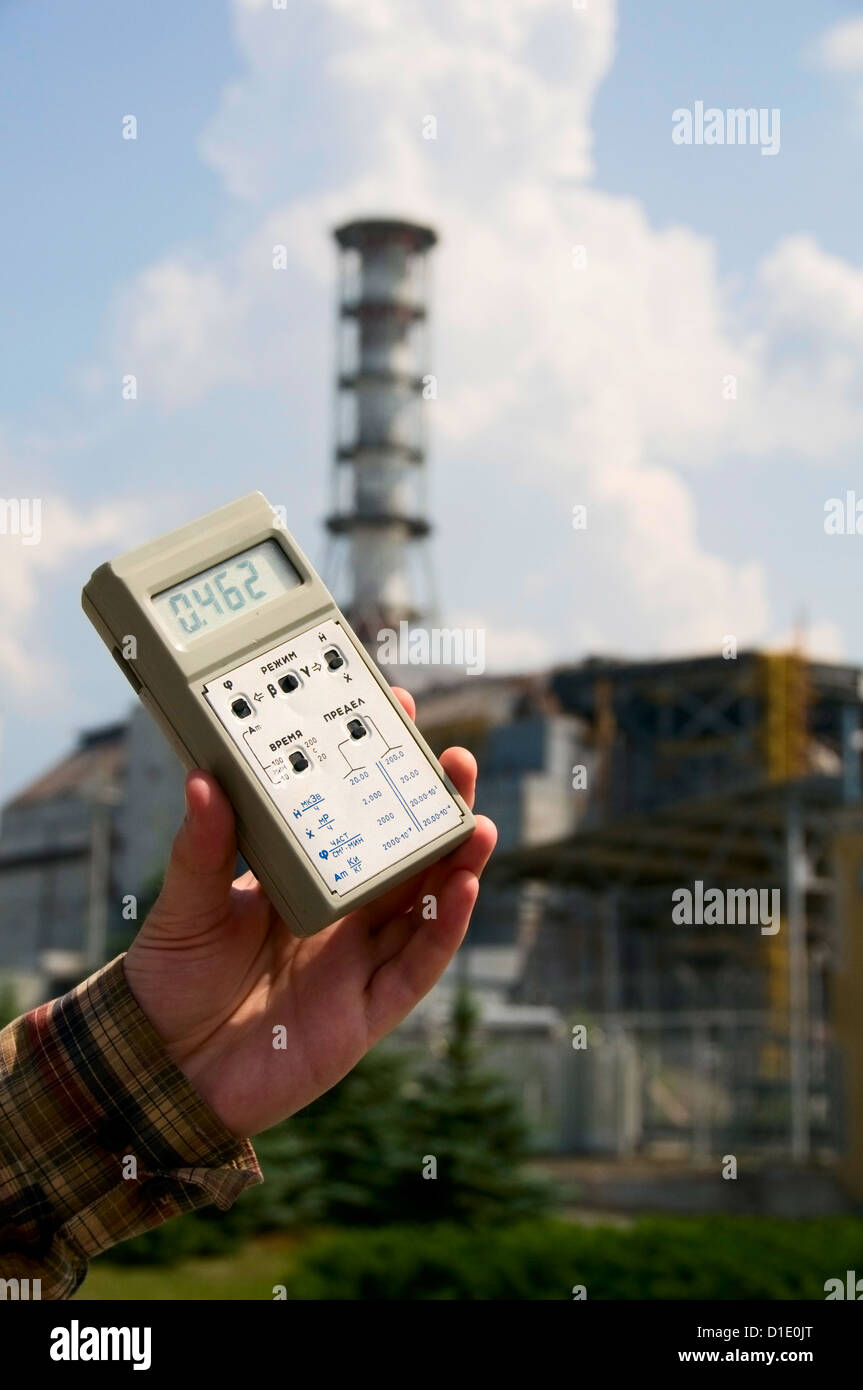 High radiation level near sarcophagus of Chernobyl nuclear station, Ukraine - Stock Image