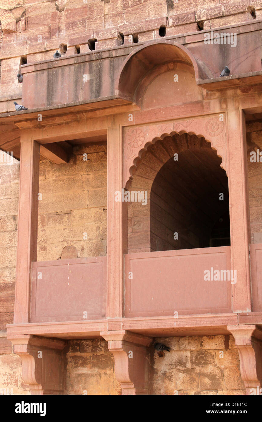 projected window for the queen Jodhpur fort rajasthan india - Stock Image