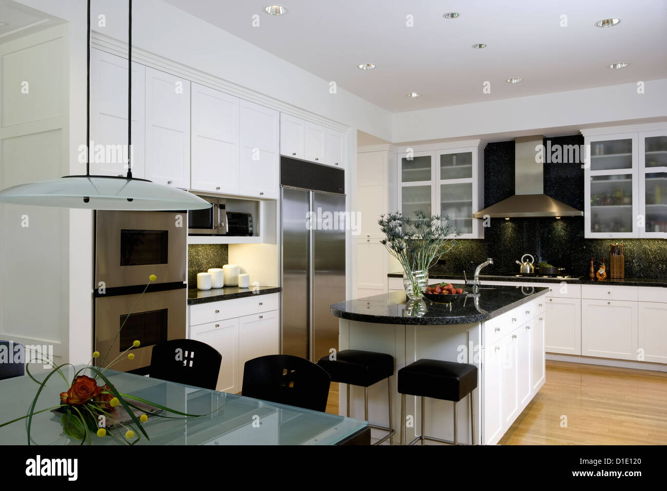Kitchen Horizontal With Frosted Glass Top Table In Foreground Kitchen Stock Photo Alamy