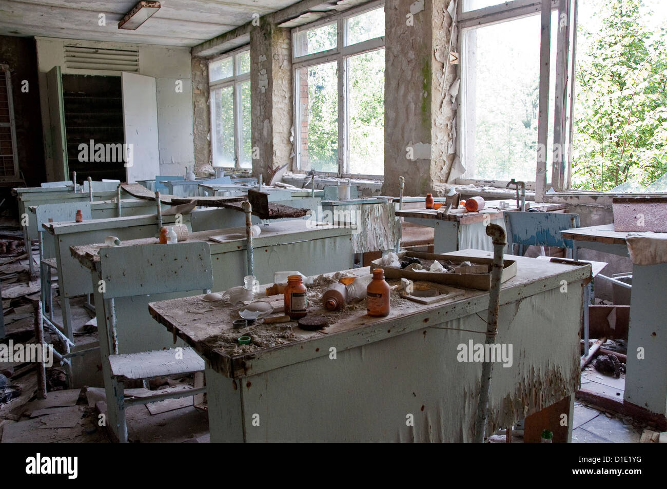 Chernobyl disaster results. This is chemistry classroom in abandoned school in small city Pripyat - Stock Image