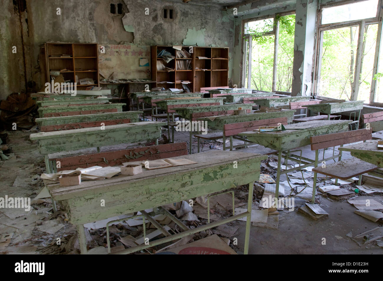 Chernobyl disaster results. This is classroom in abandoned school in small city Pripyat - Stock Image