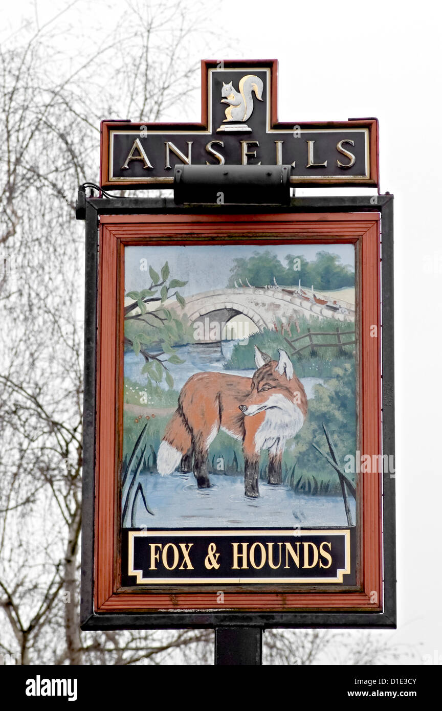 fox and hounds Pub sign Stock Photo