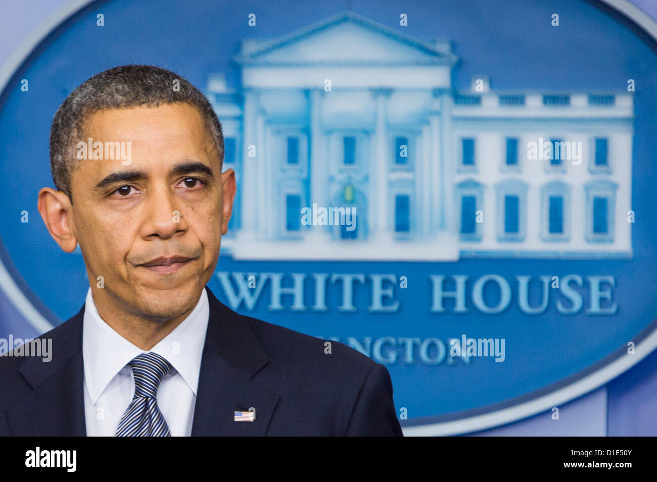 United States President Barack Obama delivers remarks in the Brady Press Briefing Room of the White House in Washington, - Stock Image