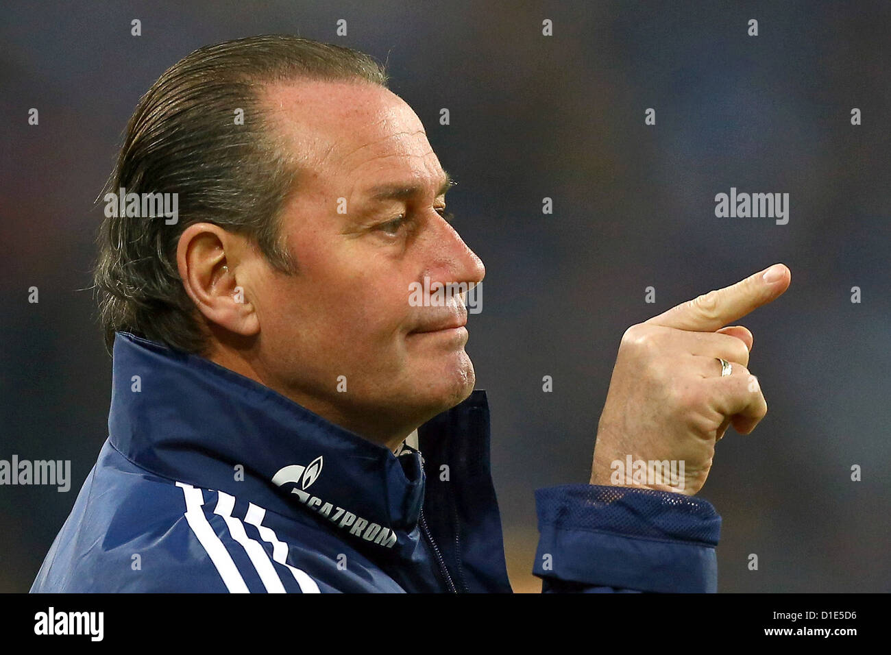 FC Schalke's coach Huub Stevens gestures during the match FC Schalke 04 - SC Freiburg in the VELTINS-Arena in - Stock Image