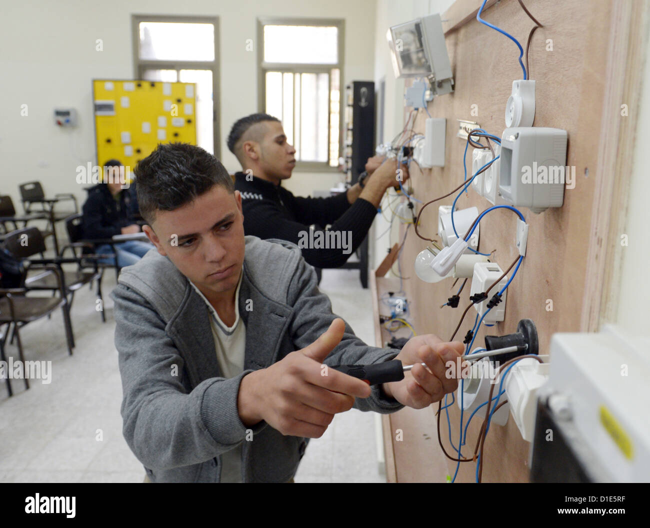 Students learn technological professions at the professional school in Nablus, Palestinian Territories, 8 December - Stock Image