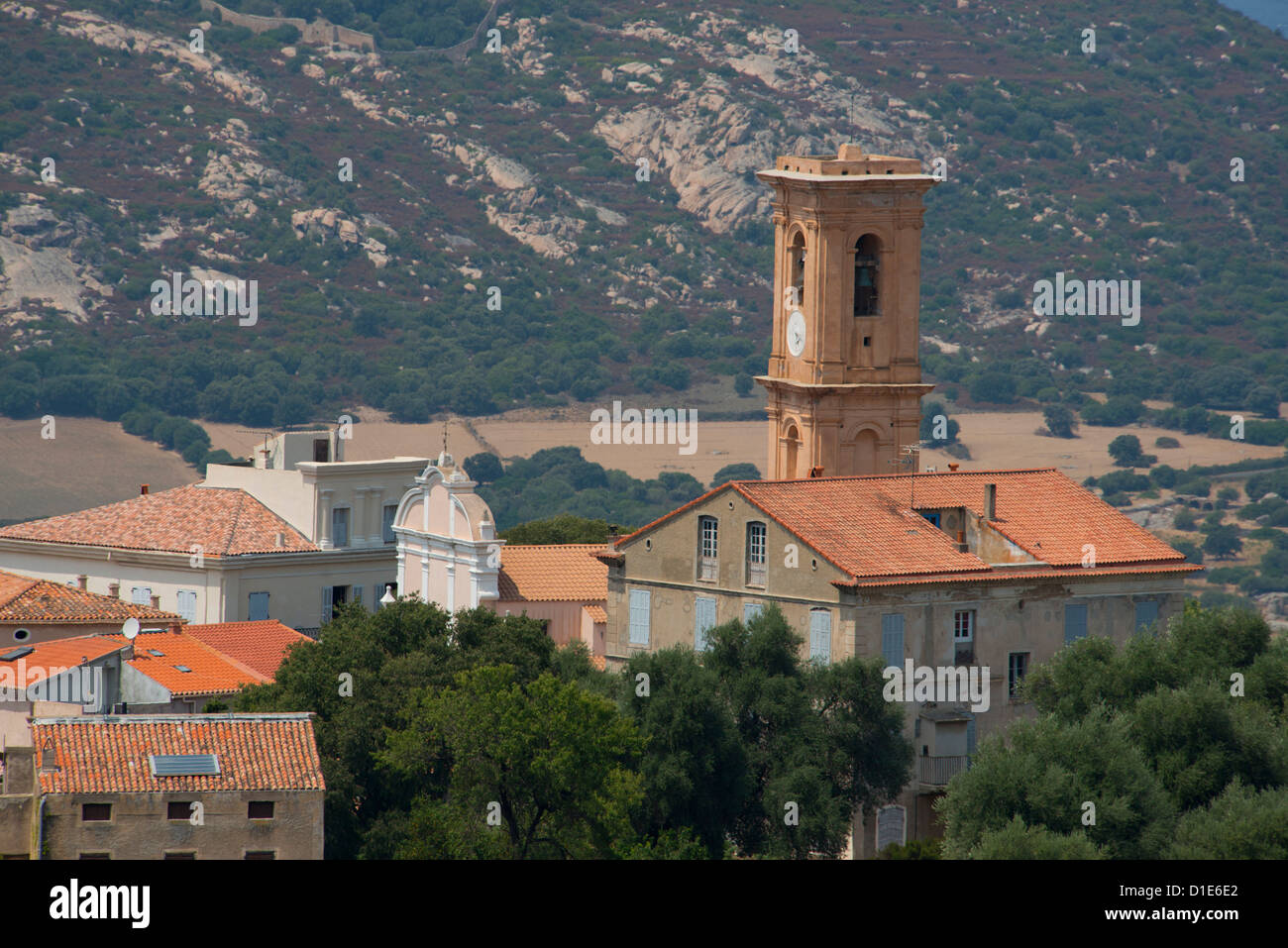 An elevated view of the picturesque village of Aregno in the inland Haute Balagne region, Corsica, France, Europe Stock Photo