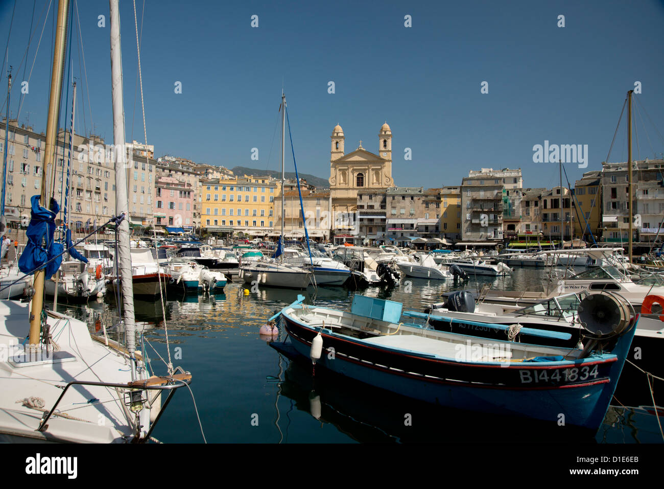 The old harbour in Bastia in northern Corsica, France, Mediterranean, Europe - Stock Image