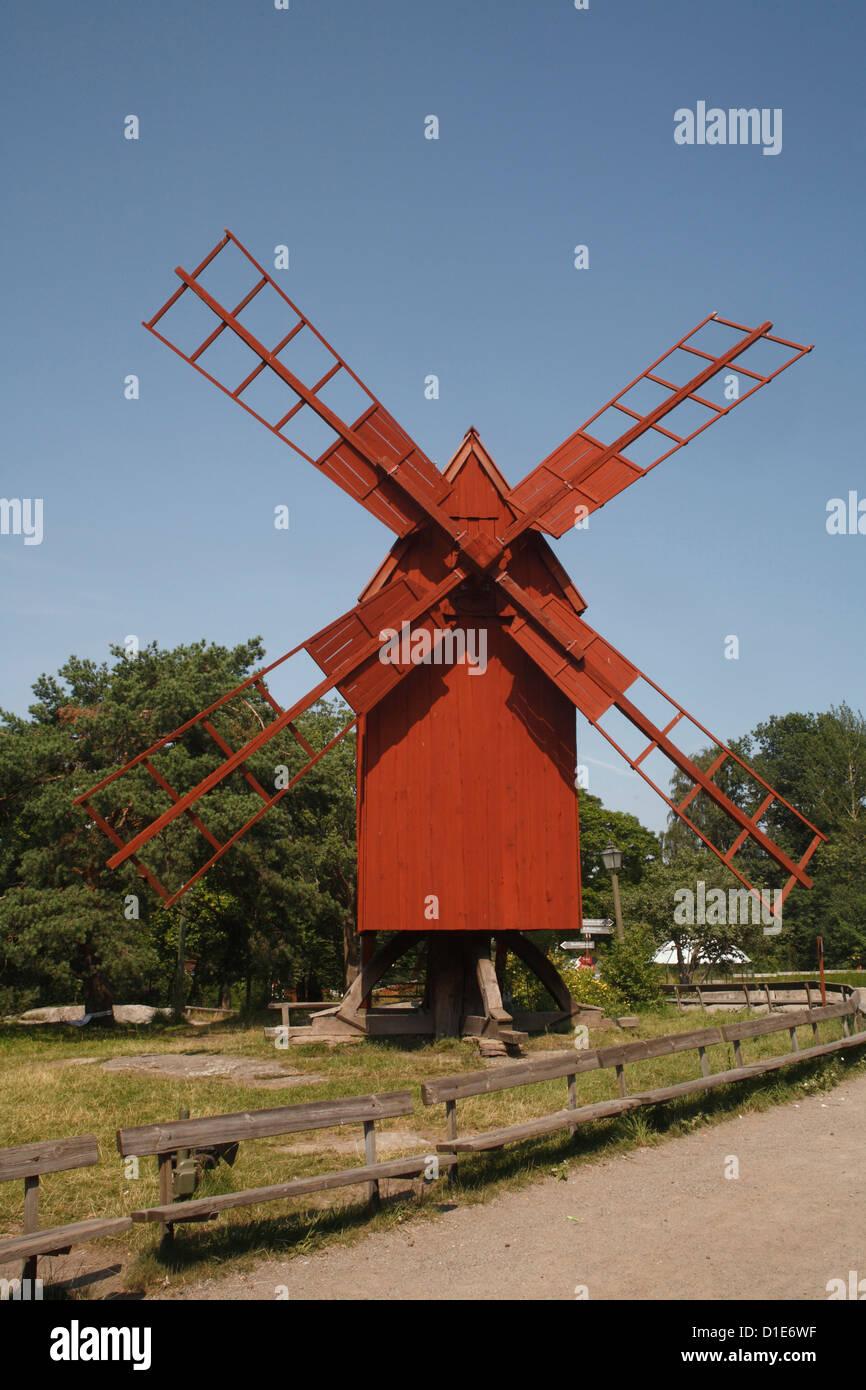 Oland Windmill, Skansen, Stockholm, Sweden, Scandinavia, Europe - Stock Image
