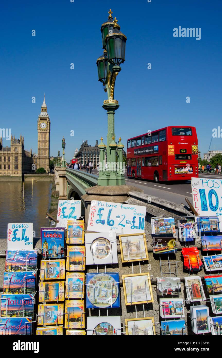 Tourist stall near Westminster Bridge, Houses of Parliament, London, England, United Kingdom, Europe - Stock Image