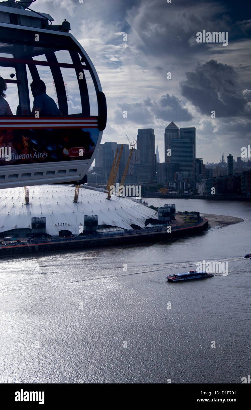 View over O2 Arena with Canary Wharf in background, London, England, United Kingdom, Europe - Stock Image