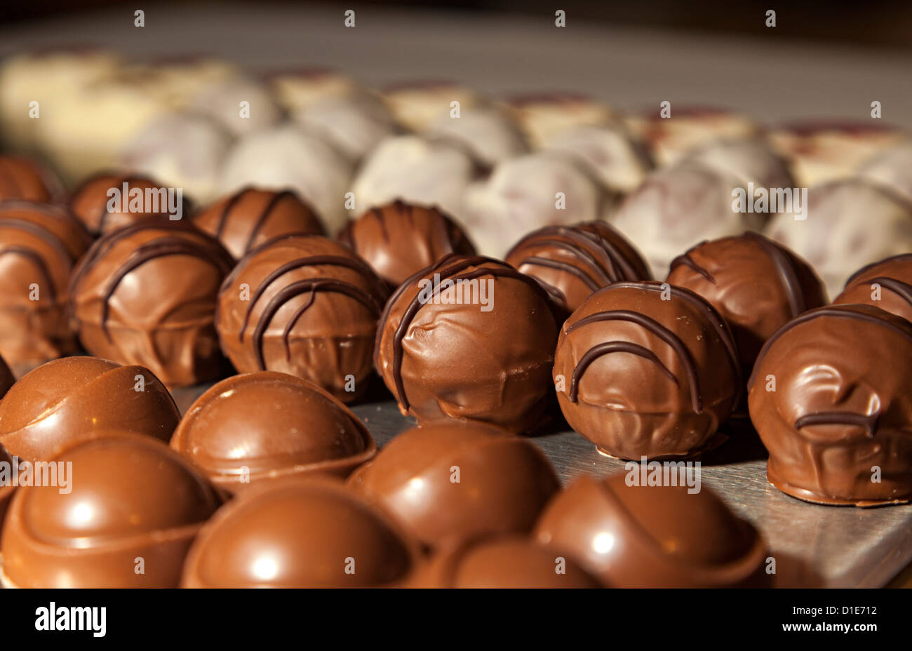 Jersey Black Butter Truffle chocolates on sale at La Mare Distillery where they are made, Jersey, Channel islands, - Stock Image
