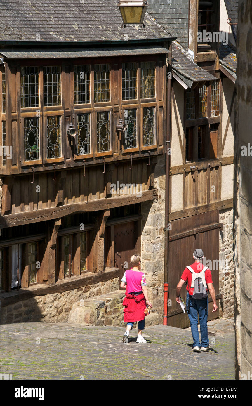 Governor's house, a 15th century mansion in old cobbled street, Old Town, Dinan, Cotes d'Armor, Brittany, - Stock Image