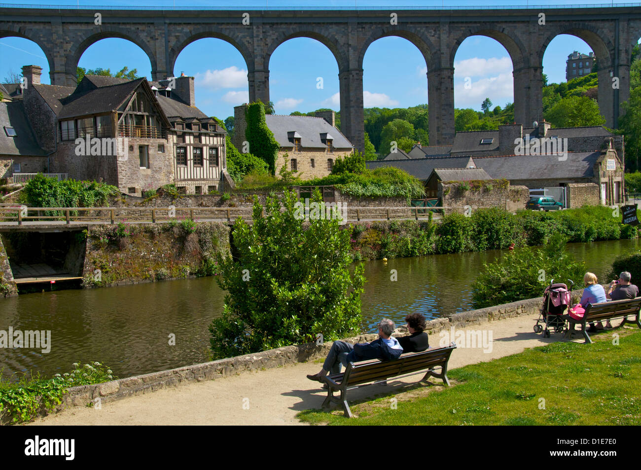 Banks of Rance River, view of old town houses, and viaduct, Dinan, Cotes d'Armor, Brittany, France, Europe - Stock Image