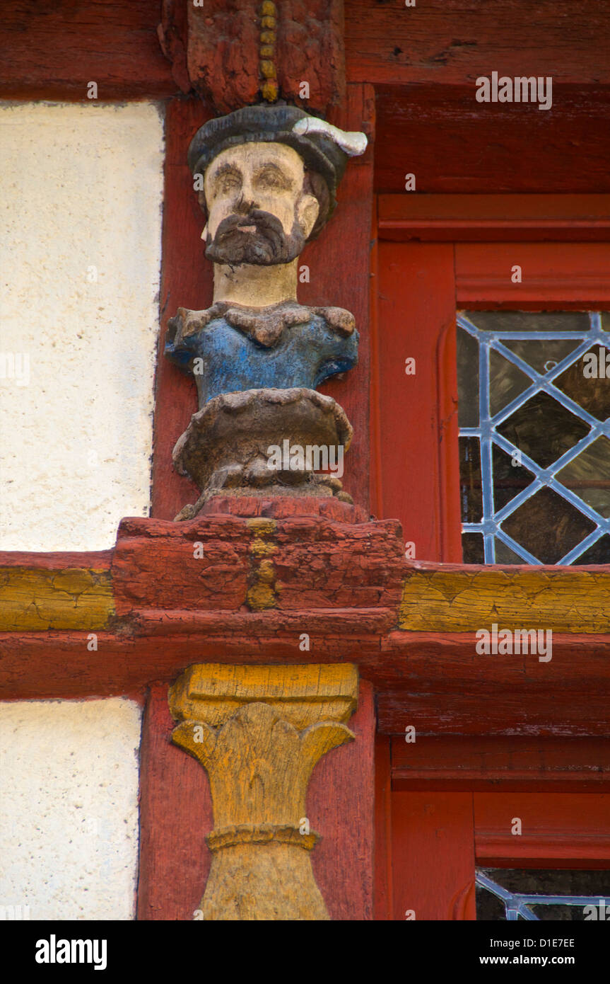 Detail of wood sculptures on the Keratry Mansion house, Old Town, Dinan, Brittany, Cotes d'Armor, France - Stock Image