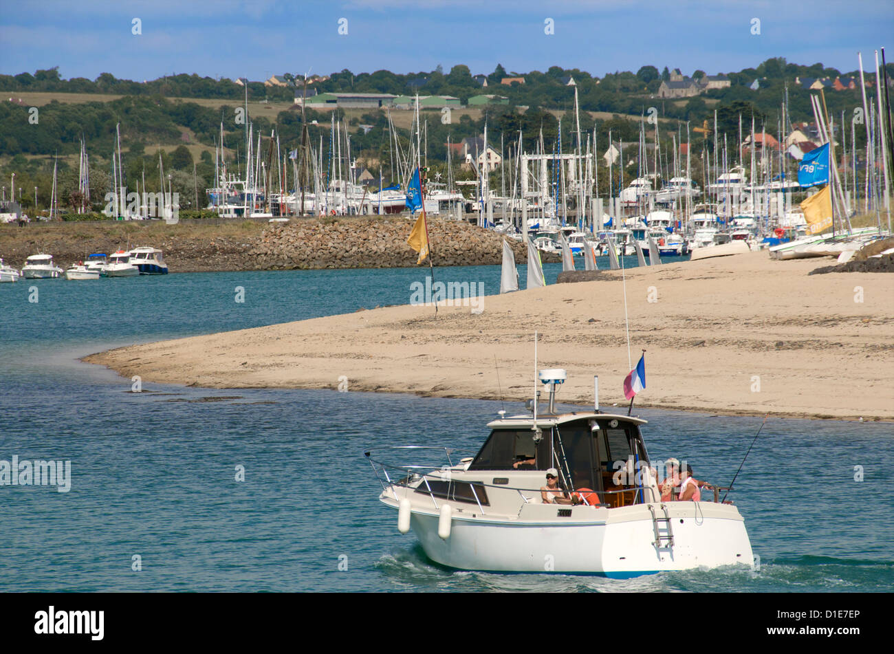 Marina harbour and boat, Barneville Carteret, Cotentin, Normandy, France, Europe - Stock Image
