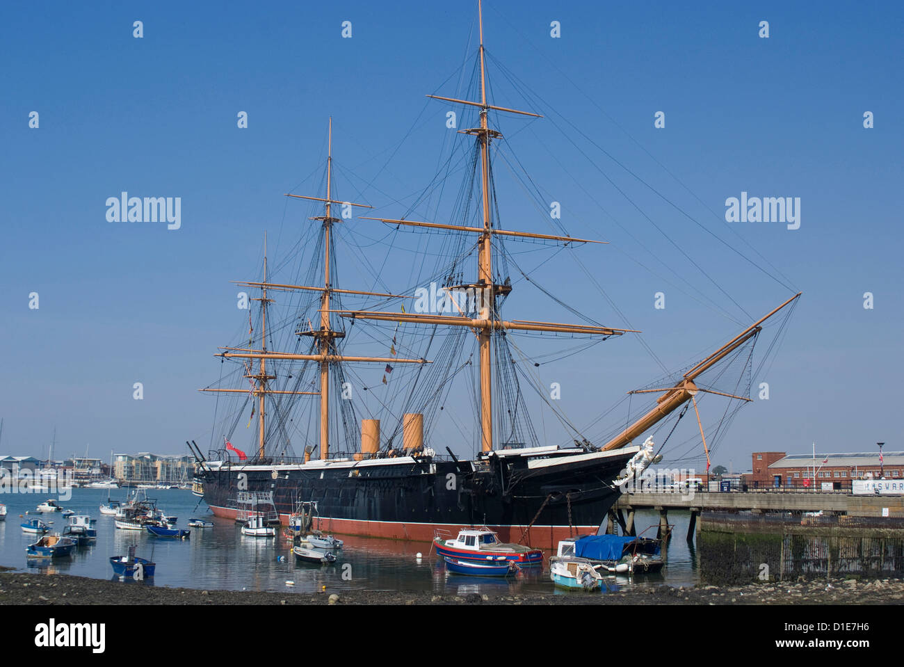 HMS Warrior, built for the Royal Navy in 1860, Portsmouth Historic Docks, Portsmouth, Hampshire, England - Stock Image