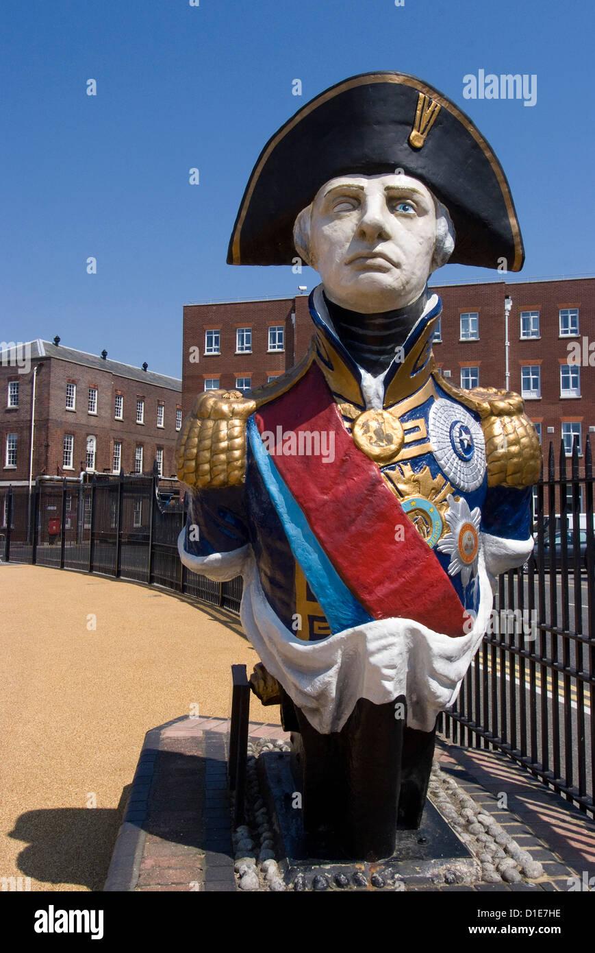Ship figurehead of Admiral Nelson, Portsmouth Historic Docks, Portsmouth, Hampshire, England, United Kingdom, Europe - Stock Image