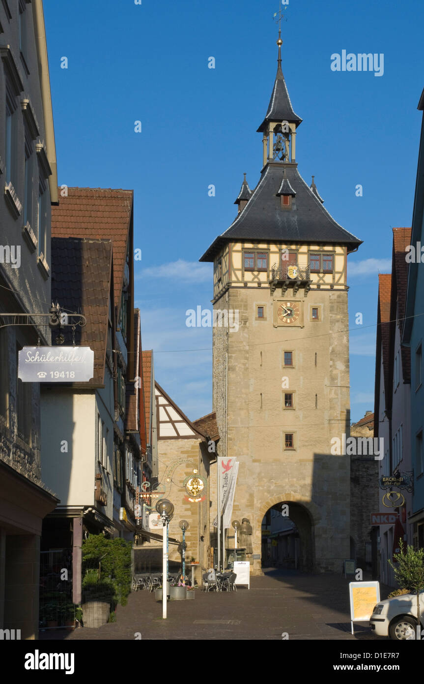 The Altstadt Gate to Marbach am Neckar, Baden-Wurttemberg, Germany, Europe - Stock Image