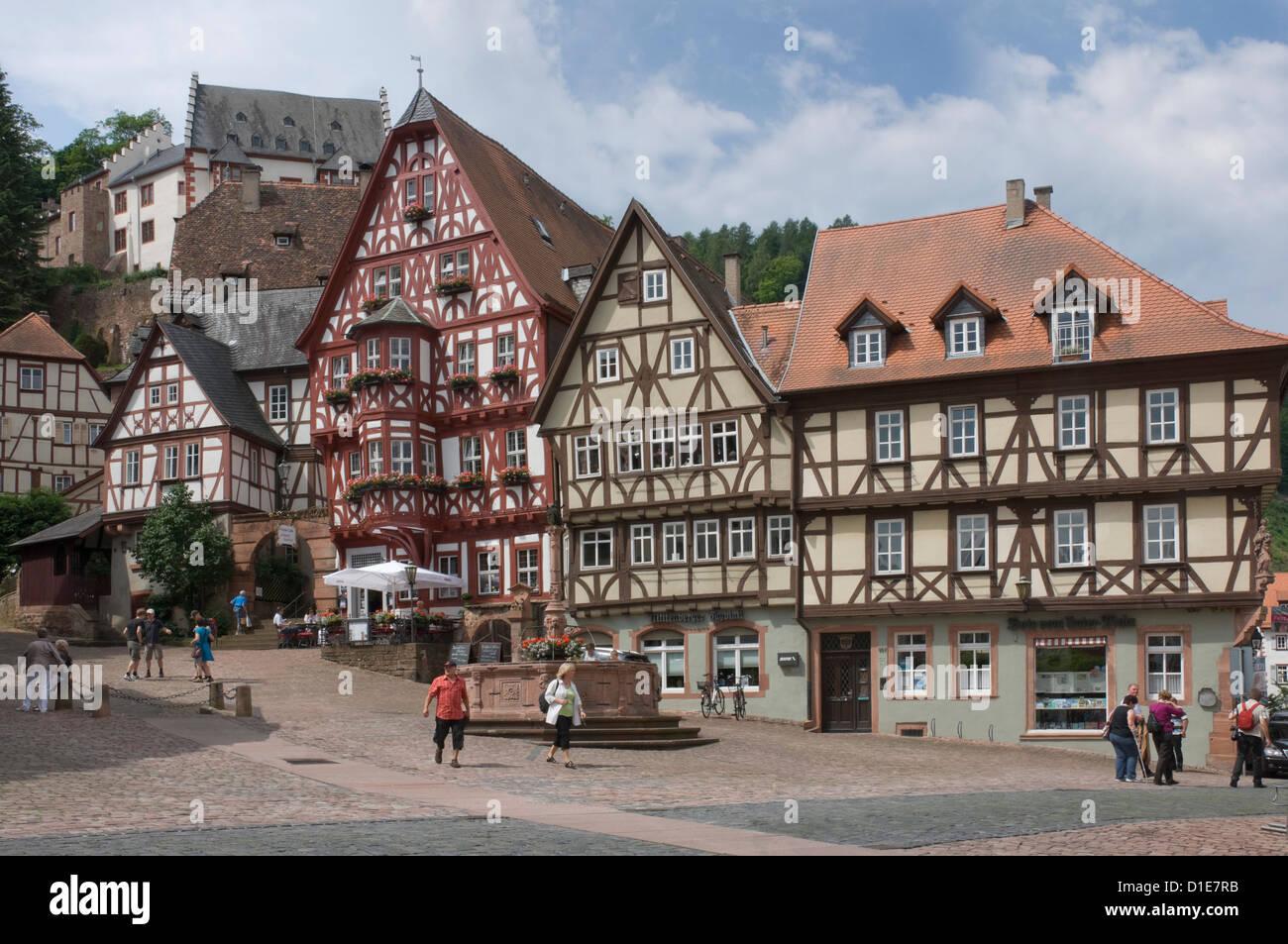The market place, Miltenberg am Main, Bavaria, Germany, Europe - Stock Image