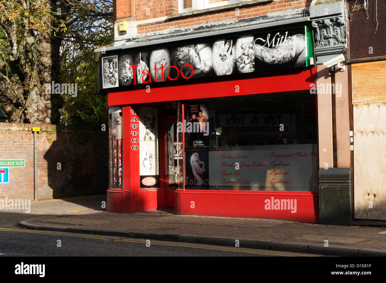 Mitko Tattoo Parlour in Bromley, Kent. Stock Photo