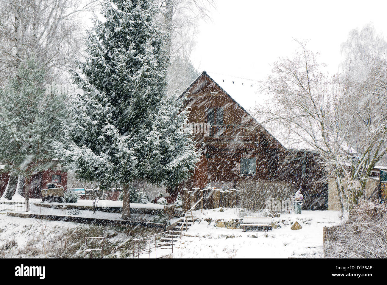 country cottage during heavy snowing - Stock Image