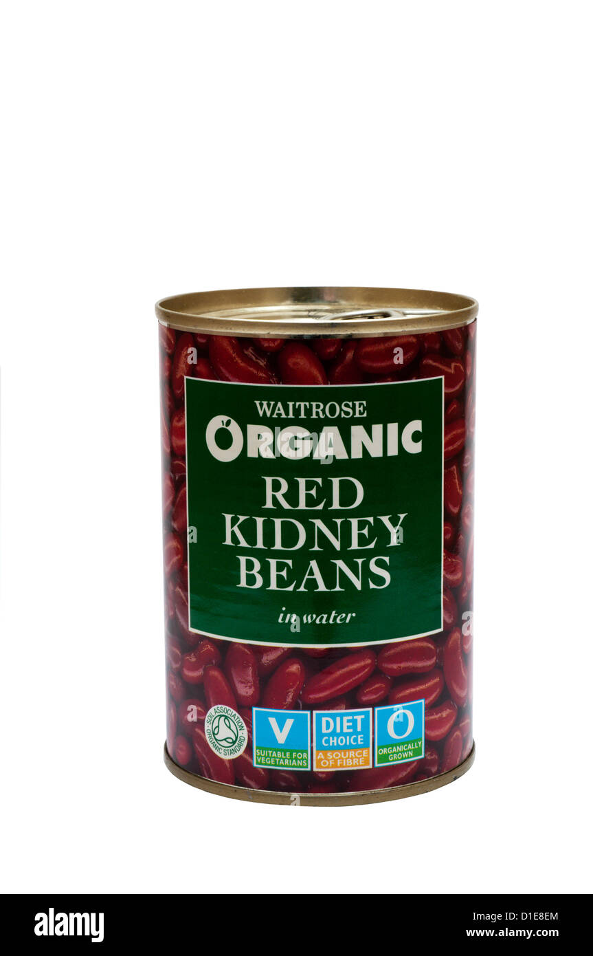 A tin of Waitrose Organic Red Kidney Beans. - Stock Image
