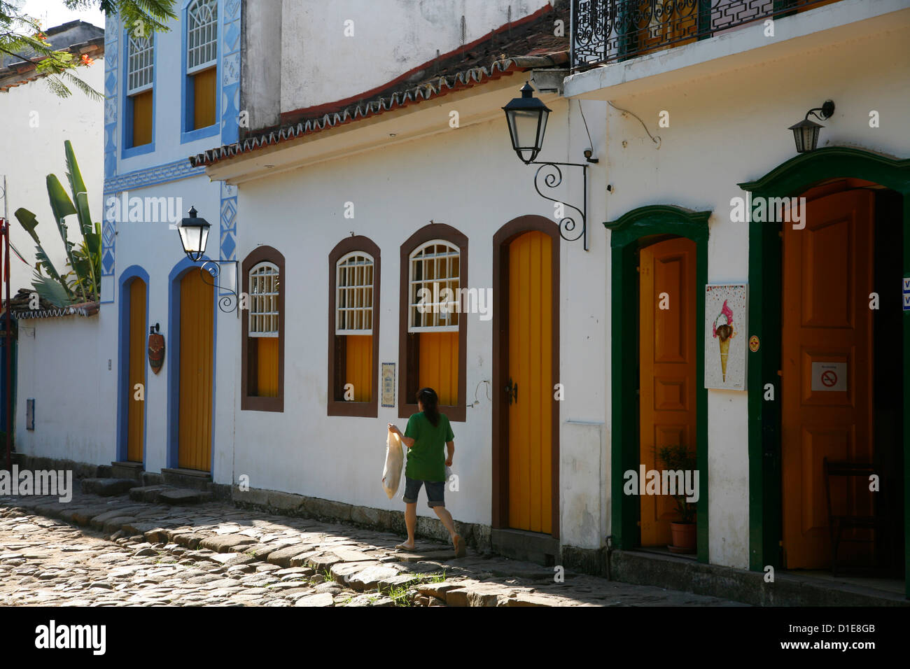 Typical colonial houses in the historic part of Parati, Rio de Janeiro State, Brazil, South America Stock Photo