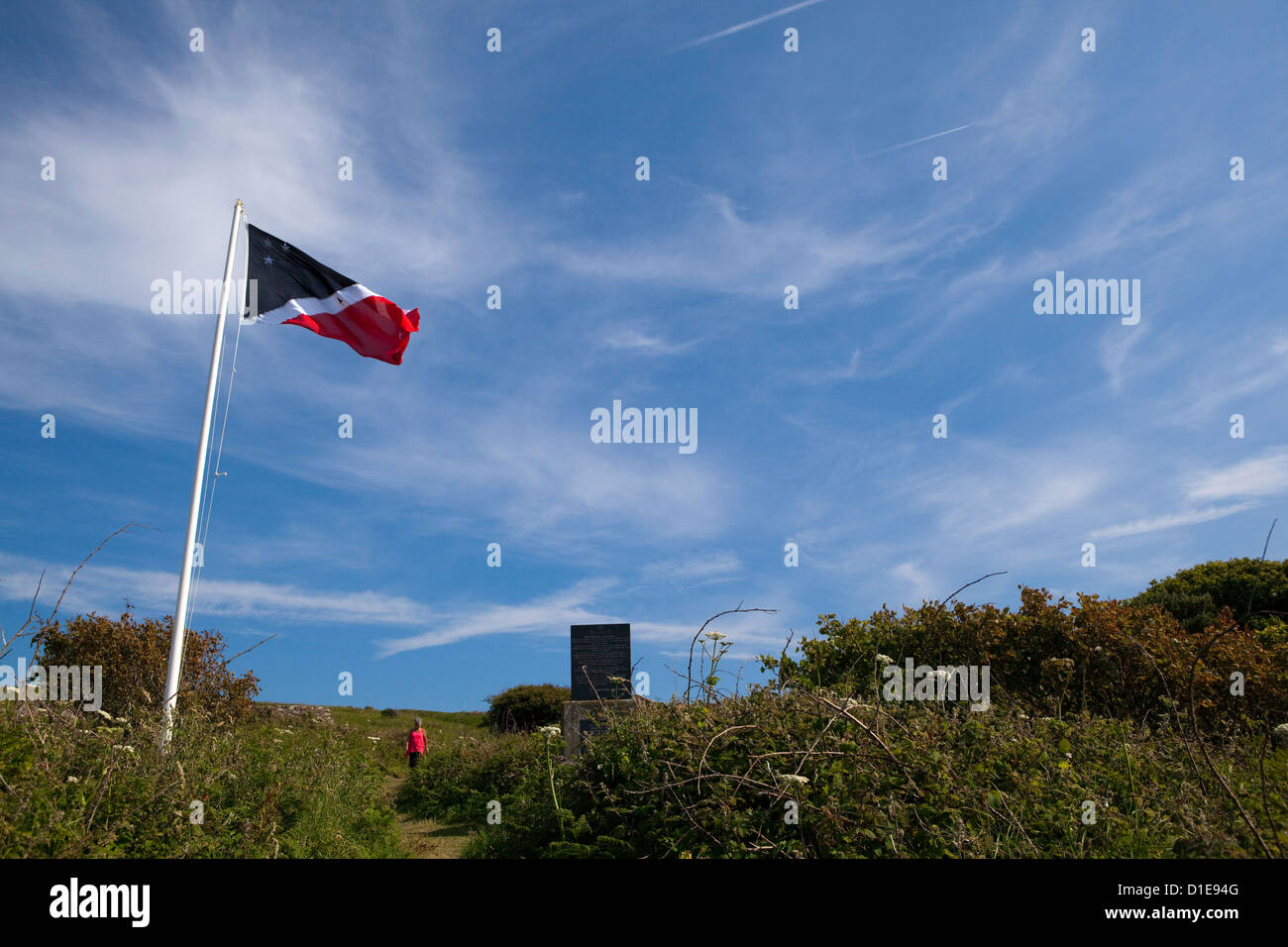 Flag of the Prince of the Saltee Islands, on Great Saltee off the coast of Co. Wexford, Ireland. T Stock Photo
