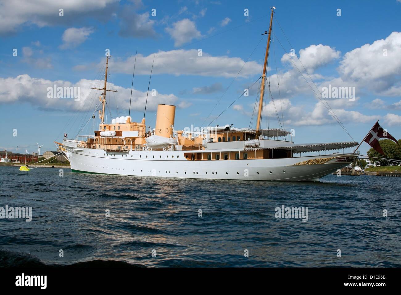 The Danish Queen's Naval Yacht Dannebrog expecting arrival of the Queen in Copenhagen harbor in Copenhagen, - Stock Image